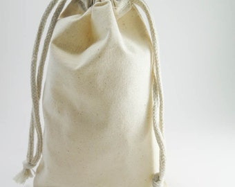 10 Large Muslin Bags Cotton Pouches (5 by 8 inch) for Jewelry, Gift Bags, Wedding Favors | Unbleached Muslin Favor Bags, Cotton Pouches