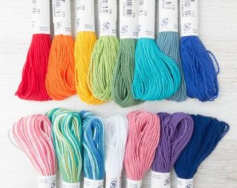 Sashiko Thread Set | 15 Color Skeins of Cotton Japanese Sashiko Thread for Sashiko, Boro Mending,  Hand Embroidery Floss - 15 COLOR SET