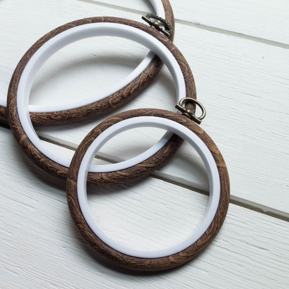 SMALL OVAL Plastic Embroidery Hoop 3.5 in x 5 in Faux Wood Flexi Hoop Oval Embroidery Hoop Frame