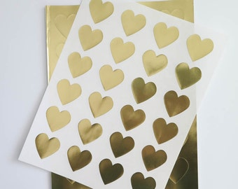 Gold Foil Heart Stickers | 1.5 inch Heart Stickers, Gold Labels,  Laser Printable for Wedding Invitations, Scrapbooking, Packaging