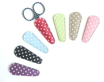 Embroidery Scissor Case | Polka Dot Leather-Like Scissor Sheath, Small Scissor Cover