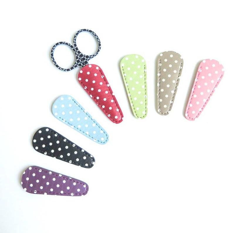Embroidery Scissor Case  Polka Dot Leather-Like Scissor image 0