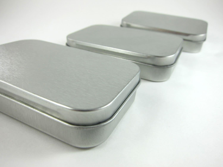 3 Steel Metal Boxes Hinged Rectangular Tins Wedding Favor