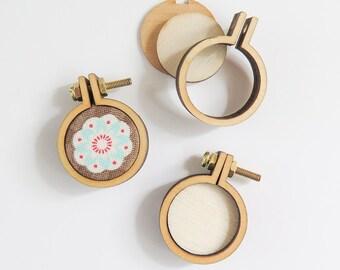 "3 Tiny Embroidery Hoops   1"" (25mm) Embroidery Hoops from Dandelyne, Circular Mini Hoops, DIY Jewelry Hoop Art"