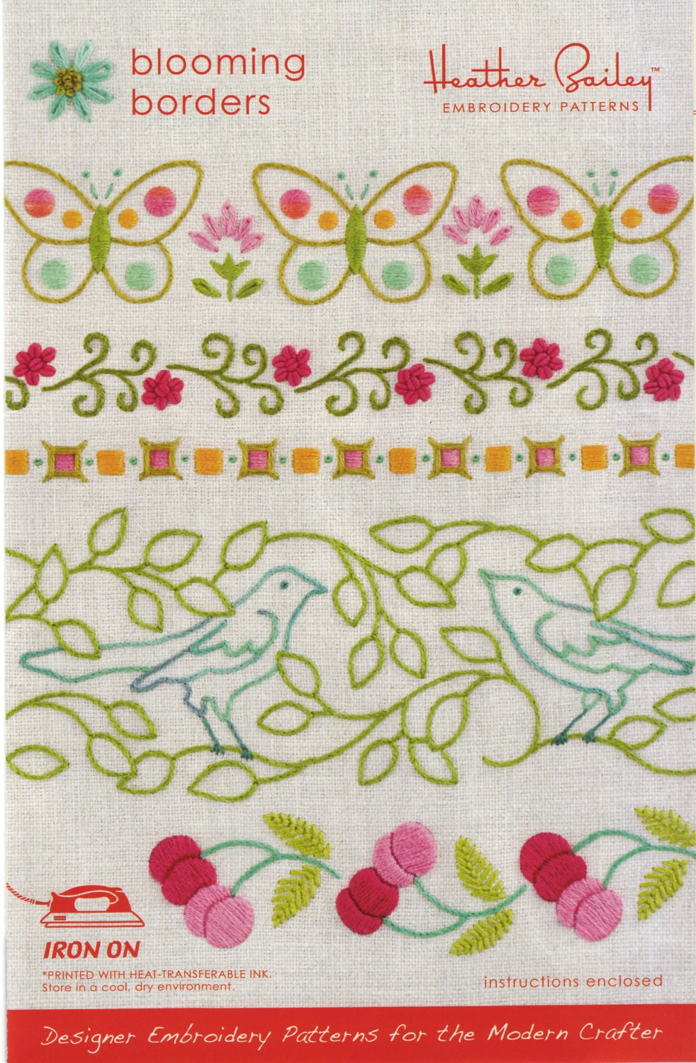 Heather Bailey Embroidery Pattern Re Usable Iron On Etsy