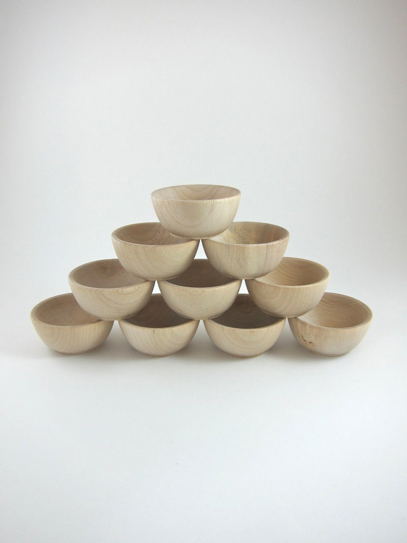 10 Small Wood Bowls Unfinished Wooden Ring Bowl Ring Bearer Bowl Montessori Waldorf Craft Supplies