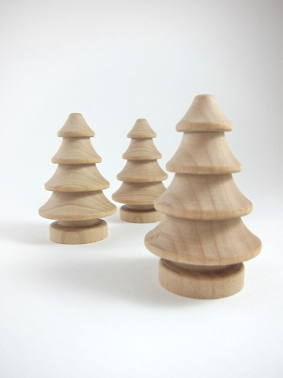 3 christmas trees unfinished wooden pine tree holiday crafts etsy