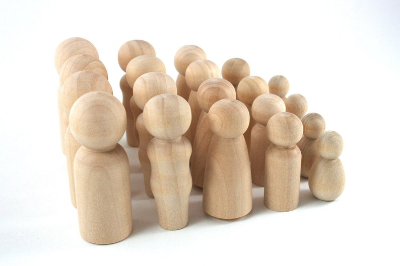 20 Wood Peg Dolls  DIY Figures  Waldorf Wooden Figurine  4 image 0