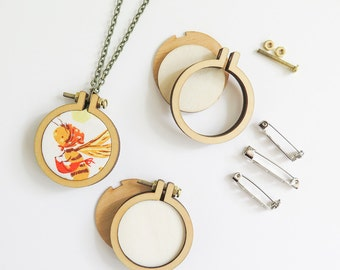 """3 Mini Embroidery Hoops Necklace Brooch Kit   1.6"""" (40mm) Embroidery Hoops from Dandelyne, Circular Mini Hoops, DIY Jewelry Kit"""