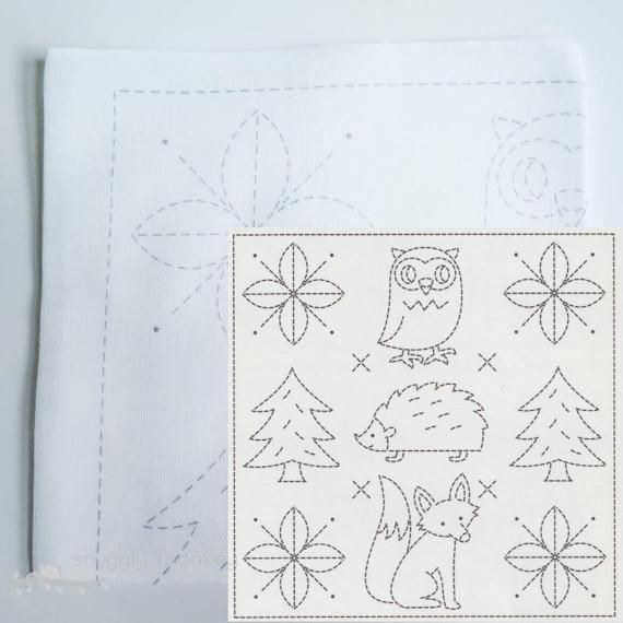 Woodland Sashiko Kit Olympus Sashiko Embroidery Pattern Etsy