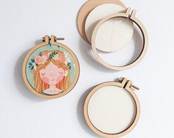 """3 Small Embroidery Hoops   2.2"""" (55mm) Embroidery Hoops from Dandelyne, Circular Mini Hoops, DIY Jewelry Hoop Art"""