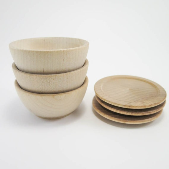3 Small Wood Plate And Bowl Sets Unfinished Wooden Plate And Bowl For Play Kitchen Doll House Waldorf Or Montessori Nature Table