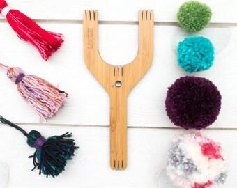 Pom Pom Maker | The Loome Tool for making Pom Poms, Tassels, Friendship Bracelets, Small Weavings, Cording - SLINGSHOT XL
