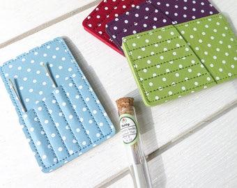 Polka Dot Needle Case   Synthetic Leather Needlebook, Needle Holder