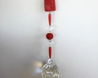 Red Buddha Sun Catcher, Red Crystal Window Prism Sun Catcher