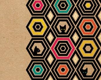Black Cats Geometric Art Print