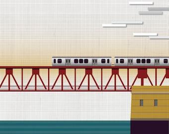 Chicago El at River Bridge / Chicago -  Art Print