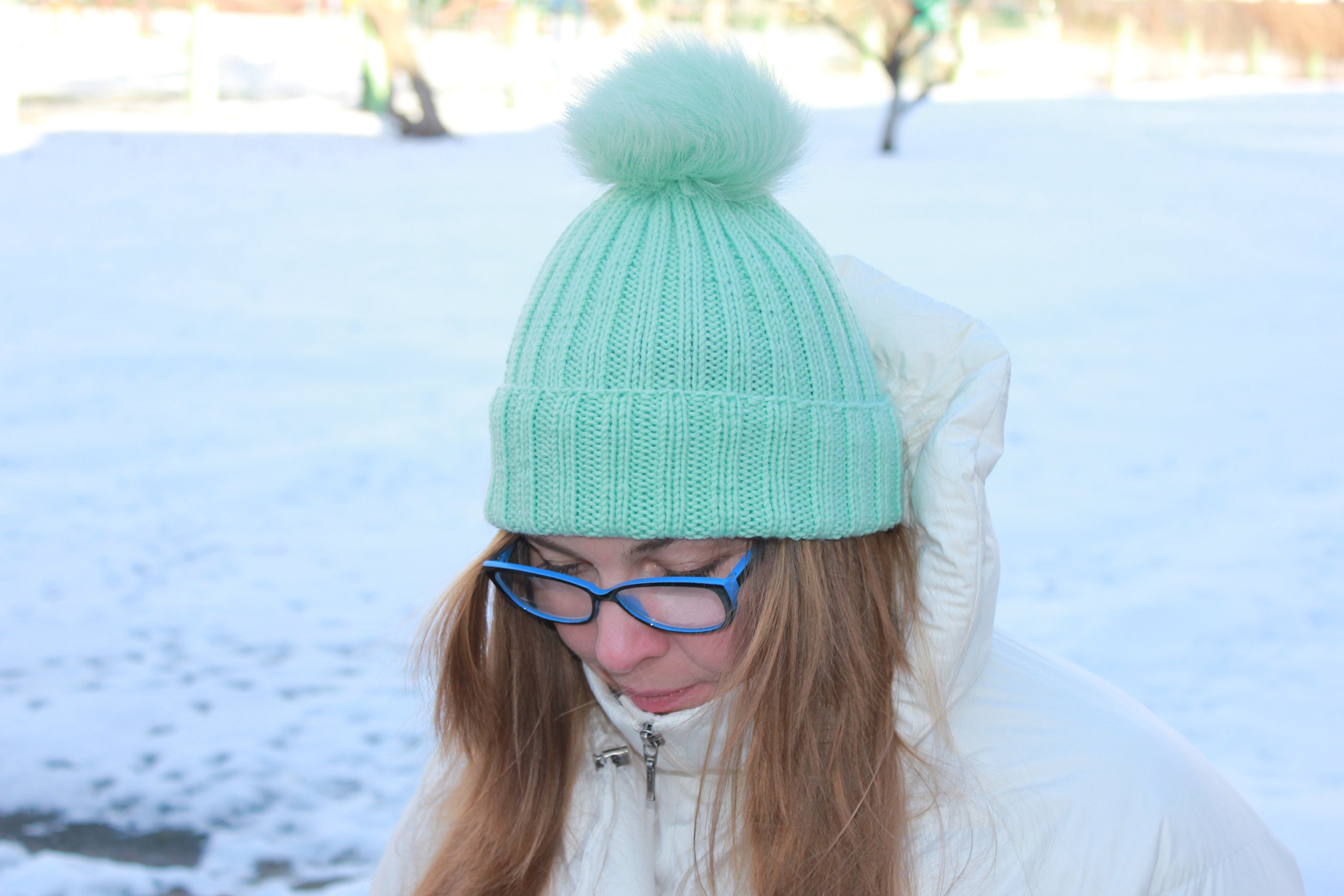 Beanie hat   mint hat   Knitted hat   fall winter hat    cbbb75ef758