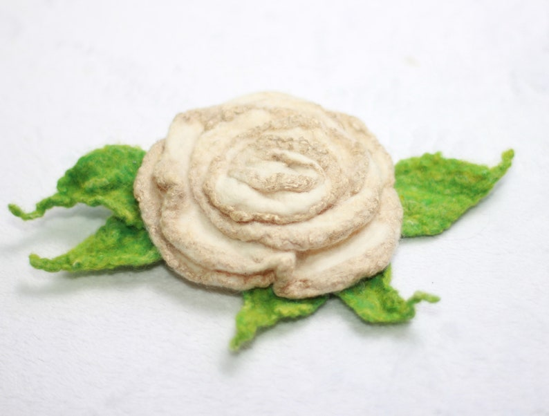 White gold Rose Felted brooch  Felted flower brooch  Felt Jewelry  Wool Flowers  Felted Brooch  Ready to ship