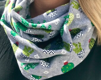 Cute Cactus Jersey Material Infinity Scarf Cowl Wrap