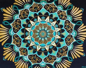celestial splendor - original mandala painting - flower mandala - gold mandala  - psychedelic art - intricate mandala - original art