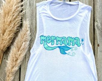 mermama tank - nursing friendly tank top - flowy scoop muscle tank - breastfeeding friendly shirt - beachy gift for mermaid mama
