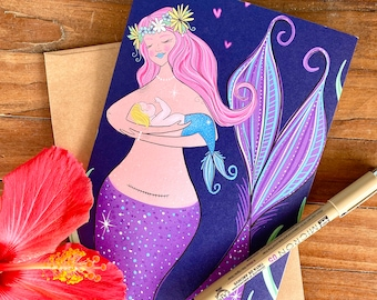 blank greeting card - sea section - frameable card with mermaid mama art - baby shower card - card for new mom - card for expecting mother