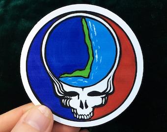 steal your face sticker - hatteras island stealie sticker - vinyl outer banks grateful dead sticker