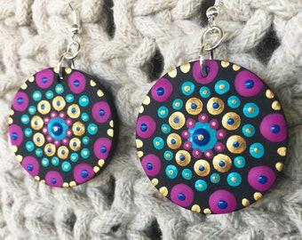mandala earrings - hand-painted - lightweight wooden painted earrings - wood slice earrings - mandala jewelry - boho jewelry - ooak gift