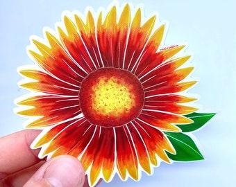 """vinyl sticker - """"jobell flower"""" - vinyl art sticker - gaillardia sticker - blanket flower sticker - floral art sticker"""