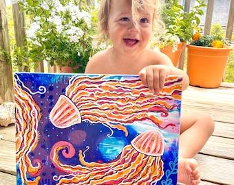 jellyfriends - original abstract jellyfish painting - beachy art - outer banks art  - surf art - sea creatures - coastal decor