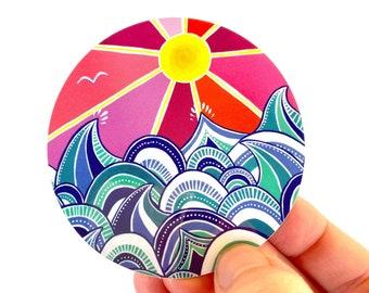 "vinyl surf art sticker - ""choppy"" sticker - vinyl beach art sticker - gift under 5 - beachy gift - gift for surfer - outer banks obx art"