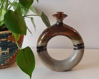 Vintage Modern Pottery Vessel, Vintage Ceramic Vase, Rustic Boho Home Decor, MCM Wine Storage