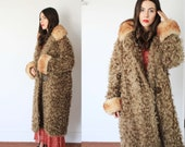Vintage 1930s 40s KaraKurl small medium curly fur coat winter - light brown tan taupe grey