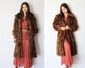 Vintage 1930s small medium brown fur coat winter - art deco