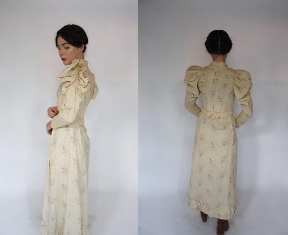 Antique vintage XS 1900s 1910s calico floral dres… - image 3