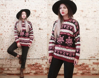 Vintage 1980s 90s Cafe La Vie small / medium southwest rose pullover sweater - oversized / slouchy fit - floral print  geometric fair isle