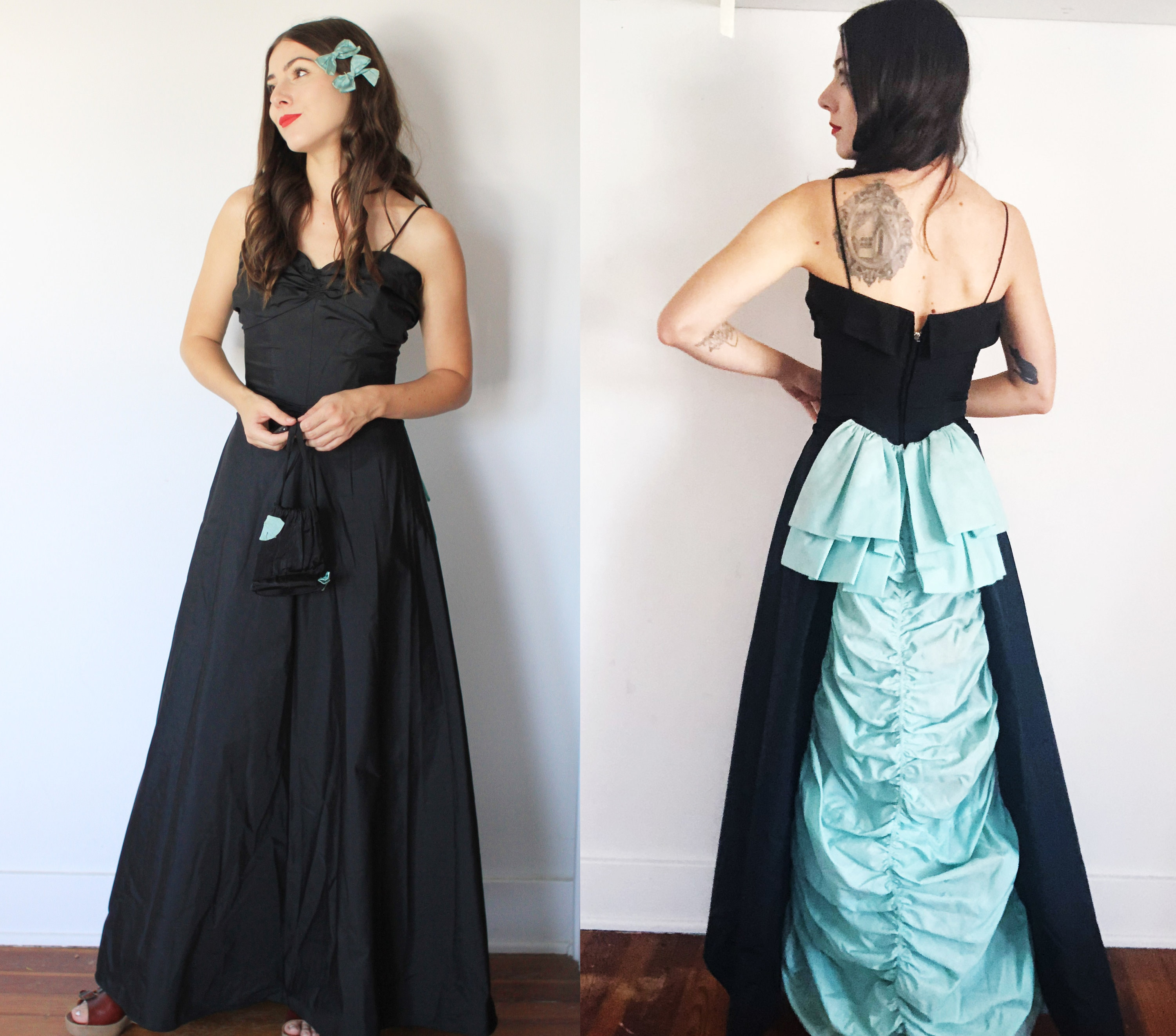 1940s Handbags and Purses History Vintage Late 1940S Early 1950S Xs Fred Perlberg Dance Originals Formal GownMaxi Dress - Sleeveless Spaghetti Strap Sweetheart Neckline $18.00 AT vintagedancer.com