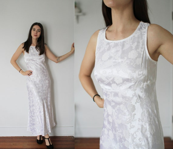 Vintage 1990s All That Jazz XS small white brocade floral sleeveless maxi dress w slit