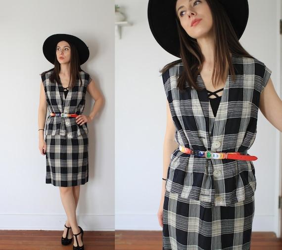Vintage 1950s large two piece dress + vest set / … - image 1