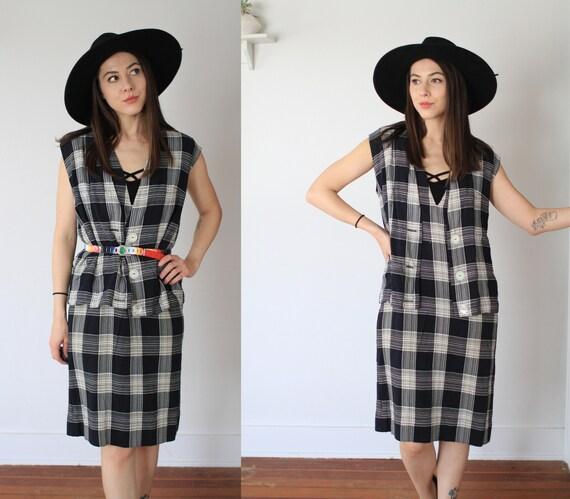 Vintage 1950s large two piece dress + vest set / … - image 2
