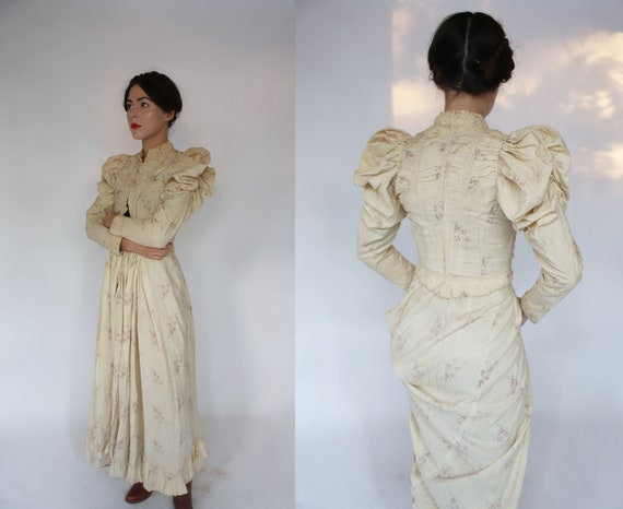 Antique vintage XS 1900s 1910s calico floral dress