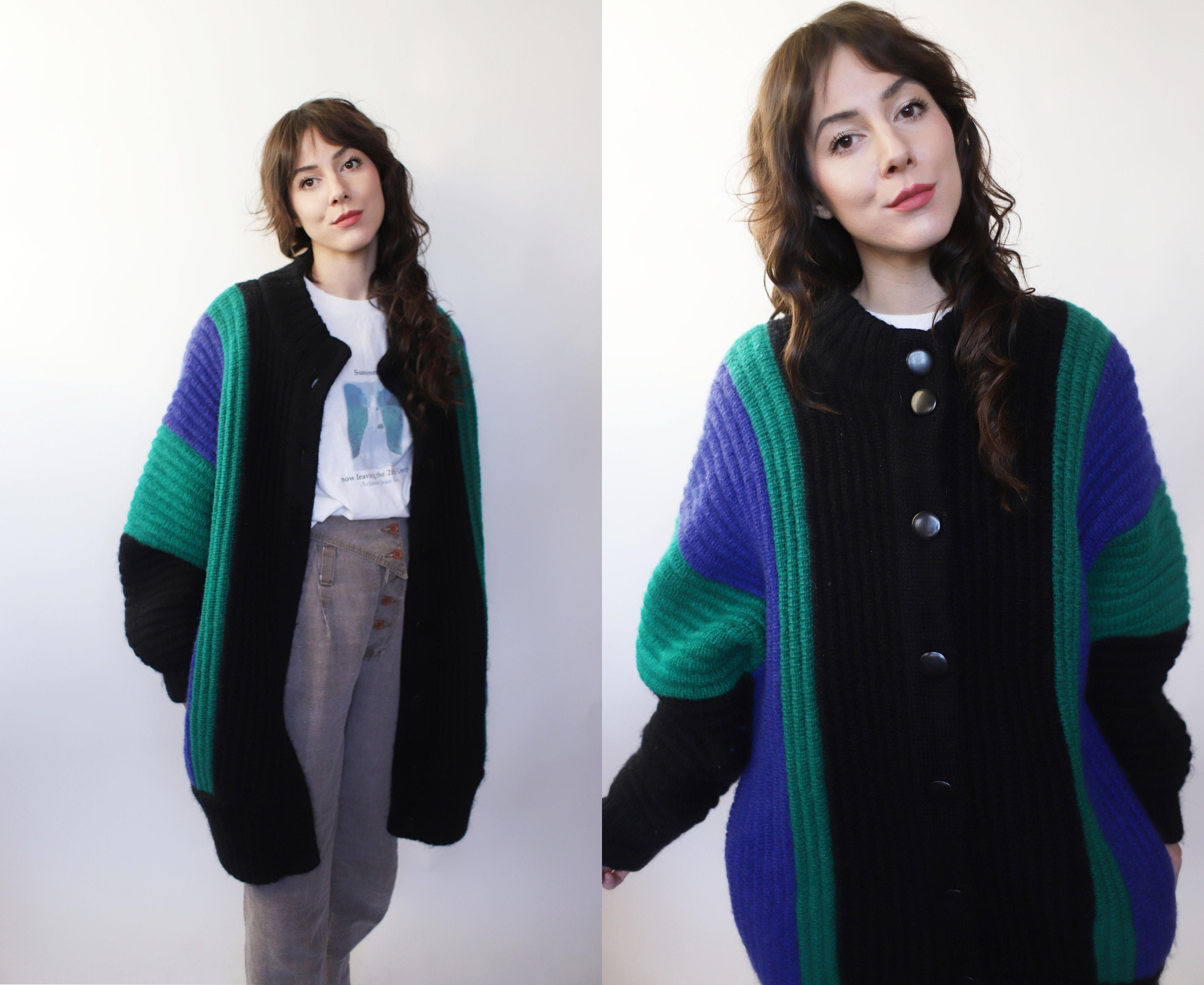 80s Dresses | Casual to Party Dresses Vintage 1980S 90S Small Medium Oversized Cardigan Sweater Jumper - Black Blue Green Chunky Knit $45.00 AT vintagedancer.com