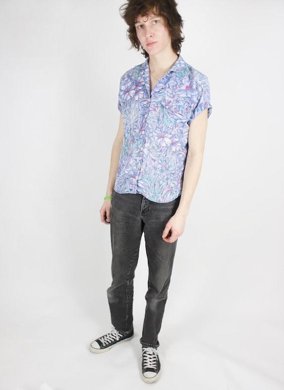Vintage 1980s 90s medium Cabrais purple swirly floral patterned button up shirt blouse