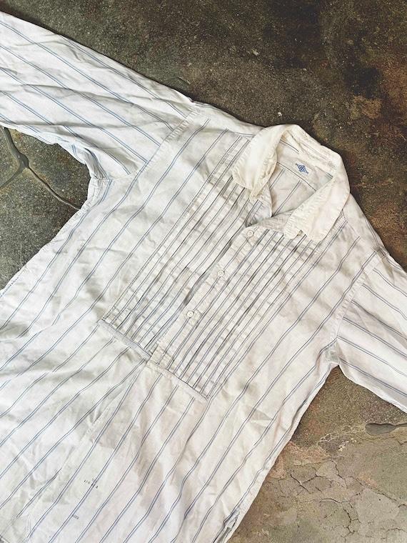 Vintage Antique 1910s 20s men's white striped but… - image 1