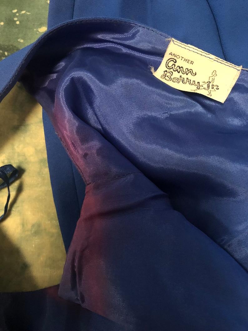 Vintage 1950s 60s XS small bright blue Another Ann Barry Jr sleeveless sheath dress  v-neck wrap dress