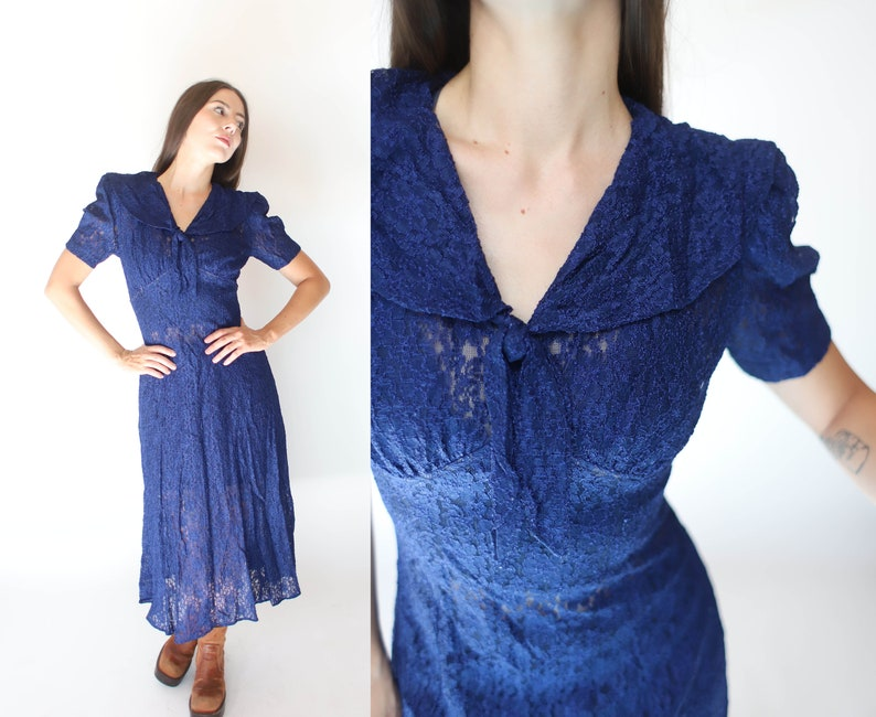 Vintage 1990s All That Jazz xs small dark blue lace dress 40s inspired  puff sleeves  sheer