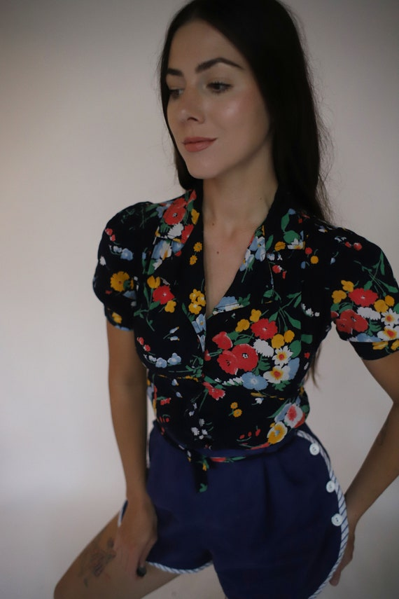 Vintage XS Young Timers 1970s 70s does 40s floral
