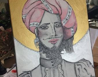 The Bearded Lady acrylic painting on canvas 8x10