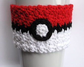 Crochet Poké Ball Coffee Cup Cozy